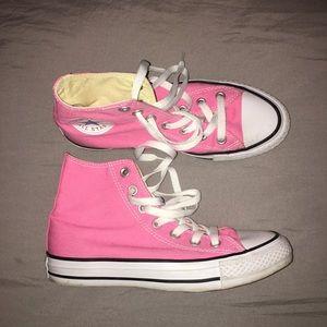 bright pink hightop converse